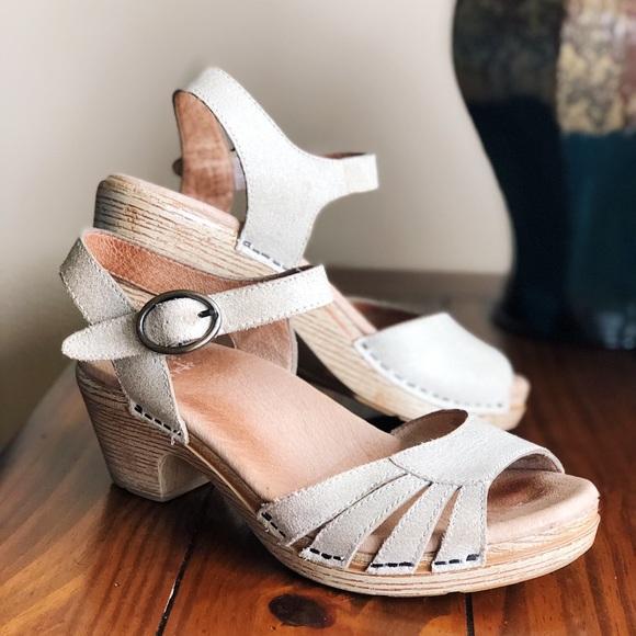"""274170266048 Dansko Shoes - Dansko """"Marlow"""" Sandal - Light Tan Strappy Heel"""